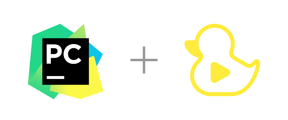 PyCharm and GitDuck logos