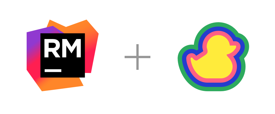 RubyMine and Duckly logos