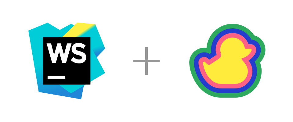 WebStorm and Duckly logos