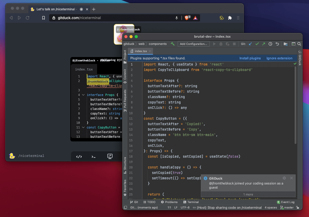 Pair programming on GitDuck with PyCharm