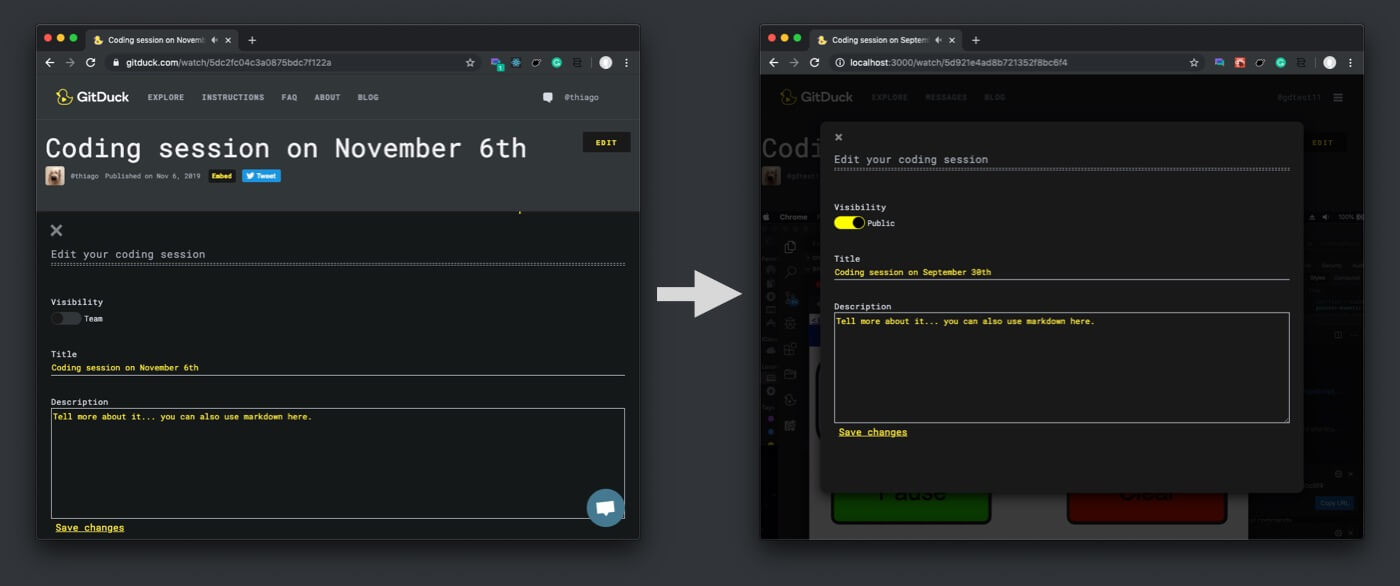 GitDuck settings evolution