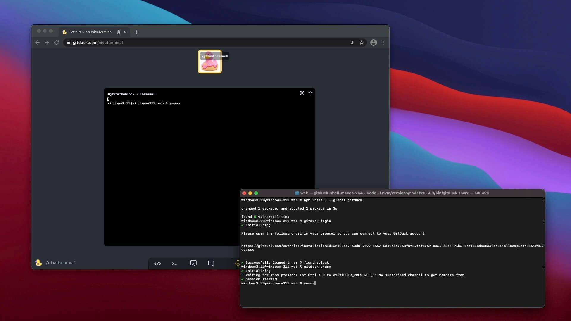 Share your terminal using GitDuck