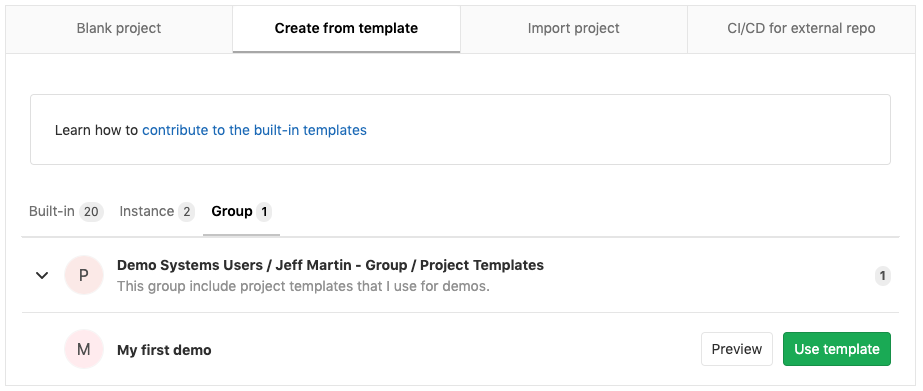 Project template types