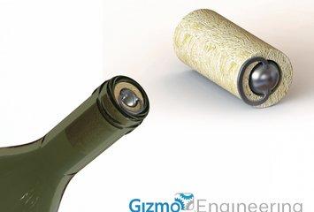 פקק לבקבוק יין עם מנגנון פתיחה המבוסס על לחץ אוויר