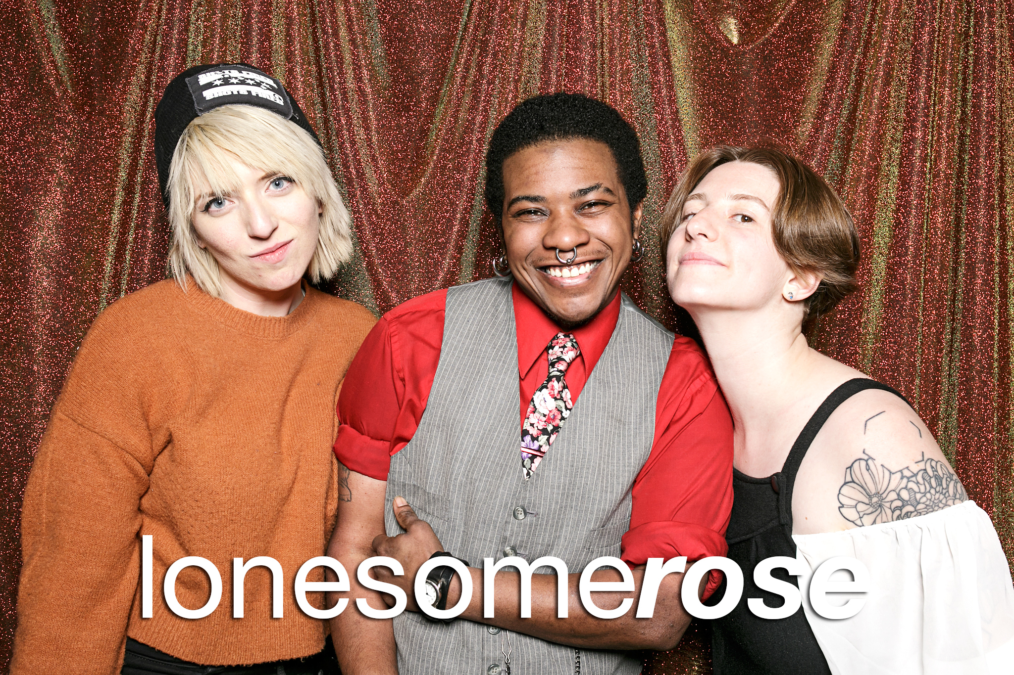 glitterguts portrait booth photos from the lonesome rose employee party, chicago 2020