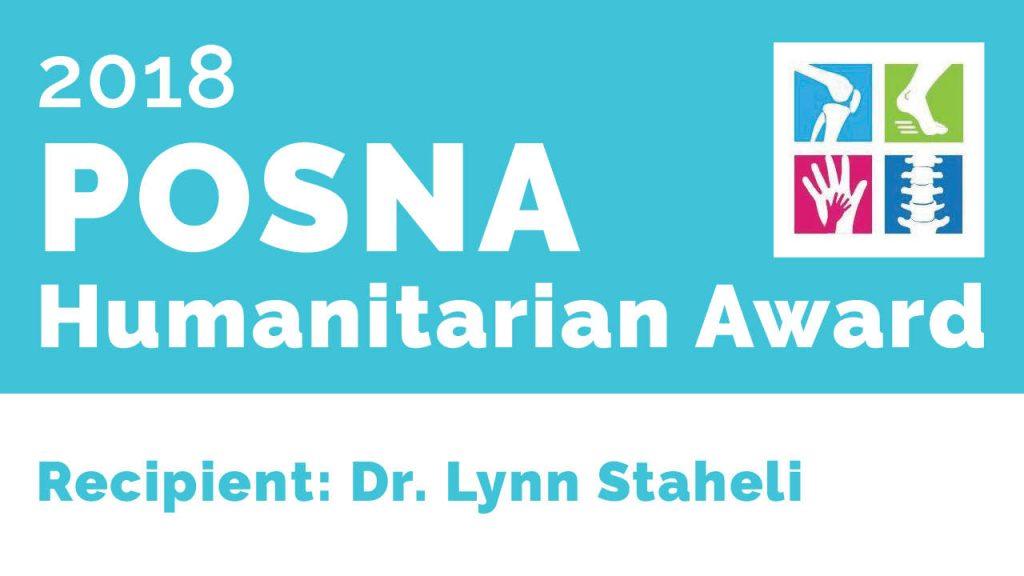 POSNA 2018: Dr. Lynn Staheli Humanitarian Award