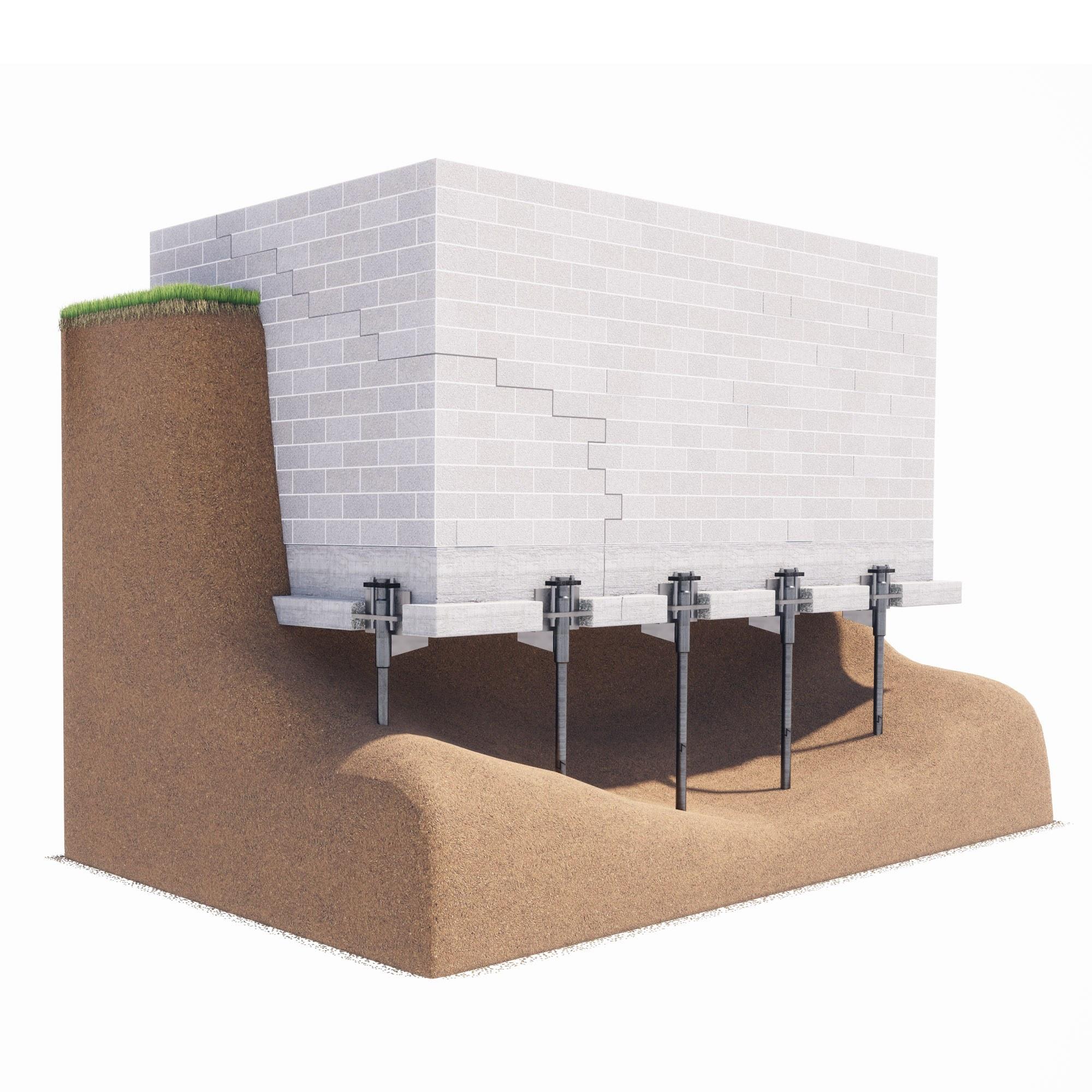 Illustration of push pier installation