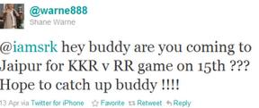 Shane Warne tweeting about Shahrukh