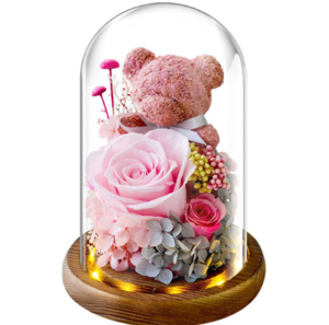 [母親節禮物2021/ 女朋友/ 生日禮物]永生花玫瑰小熊玻璃燈座
