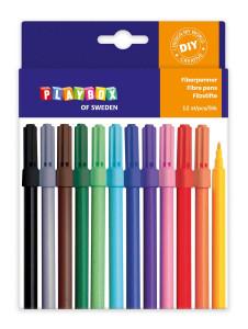 Fibre pen 12 pcs thin
