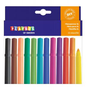 Fibre pen 12 pcs thick