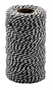 Cotton twine black & white 100 m x 2 mm