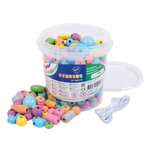Träpärlor i hink pastell 250 g
