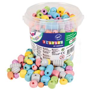 Wooden beads in bucket pastel