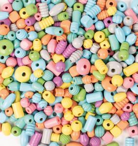 Träpärlor 750 g blandade pastell färger