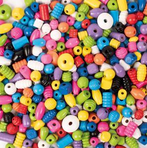 Träpärlor 750 g blandade färger
