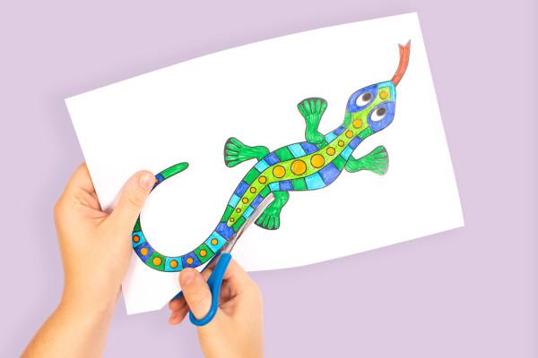 Cut and colour a lizard