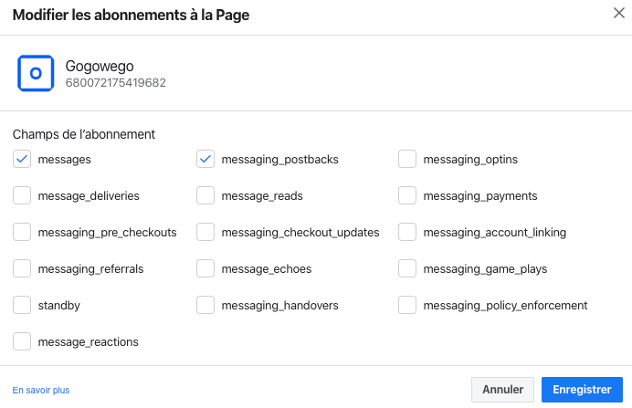 Select 'messages' and 'messaging_postbacks'