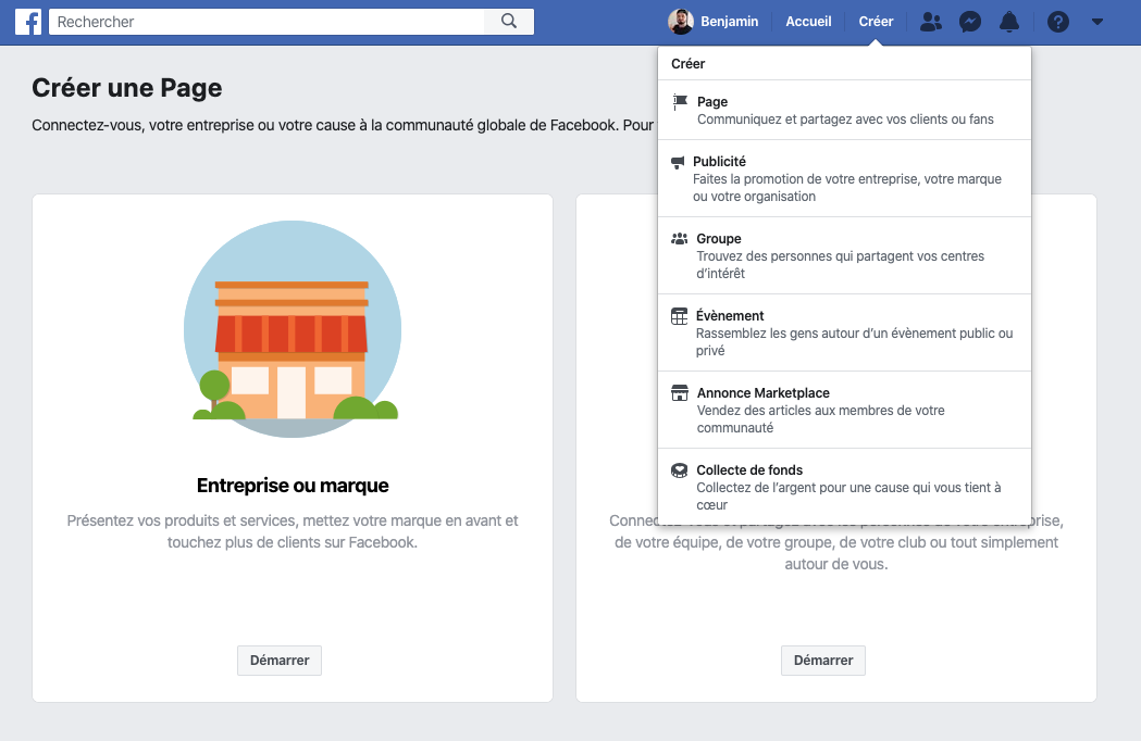 Create a new facebook page