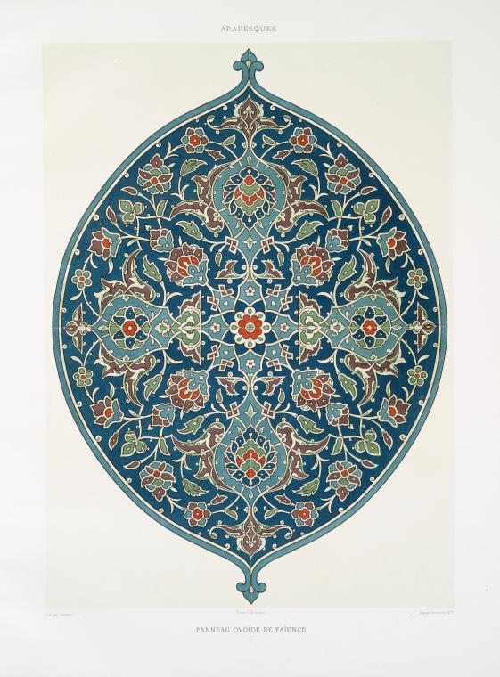 Lithograph by Lemoine, Arabesques: panneau ovoïde de faïence, 1877