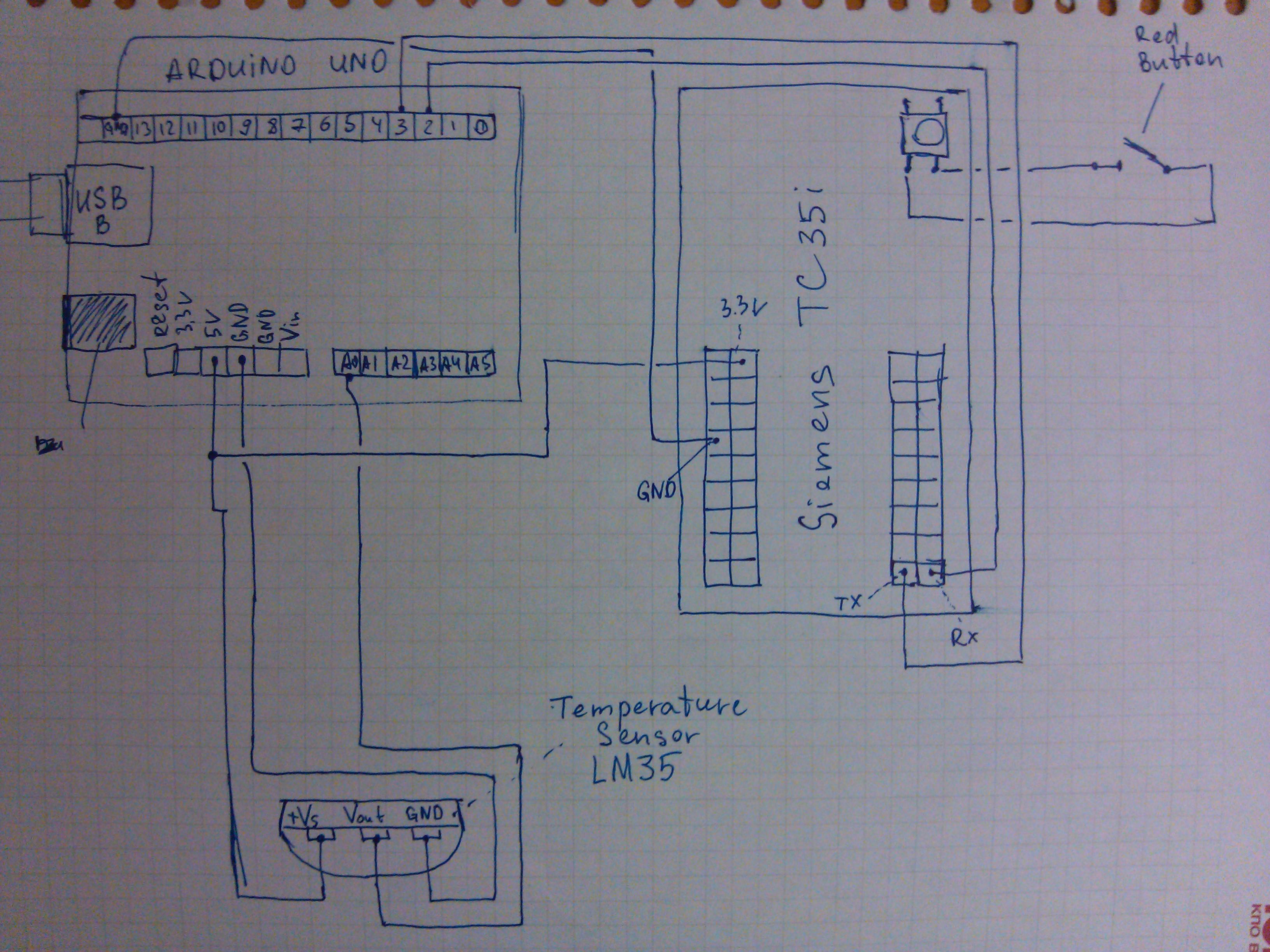 wiring_scheme.jpg, Wiring scheme of how to connect Arduino UNO, Siements  TC35 and LM35 temperature sensor Arduino Uno Siements TC35 ...