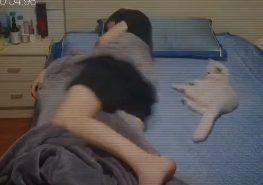 飼主將整條棉被都捲到自己身上,被吵醒的貓咪跳了起來。(圖 / TikTok@petgt )