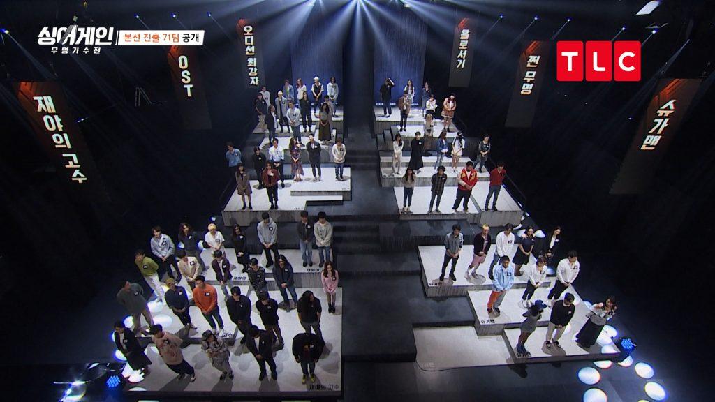 71位入選者首集第1輪比賽採分組生存戰,分成「選秀強者」、「OST」、「獨當一面」等不同小組角逐。(圖/TLC授權)