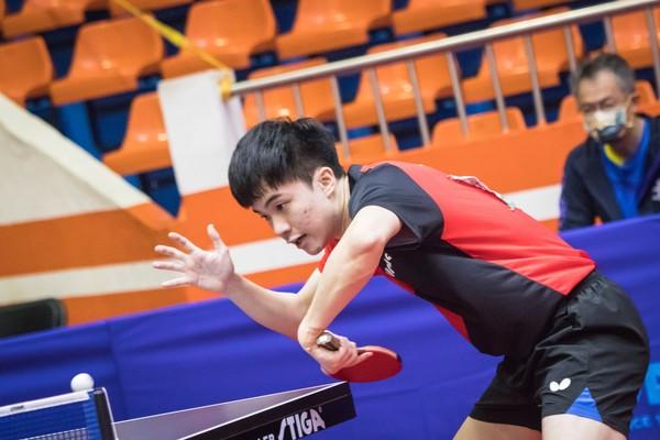 林昀儒在今日桌球男單冠軍戰「不戰而勝」,摘下全運會第3金。(圖/全運會提供)
