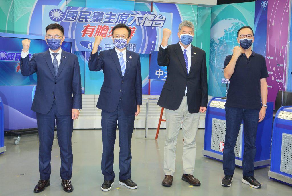 《國民黨主席大擂台-有膽來辯》左起江啟臣、卓伯源、張亞中、朱立倫中天新聞提供