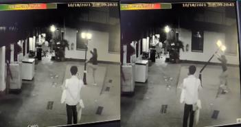 一對男女將中庭的路燈給弄斷。(圖/翻攝自臉書社團爆廢公社)