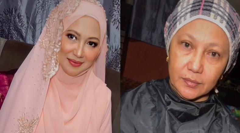 60歲婦人經過化妝師巧手,變得非常年輕,也驚呼網友。 (圖/翻攝自抖音/ermatahir)