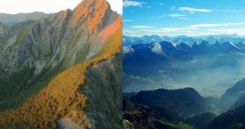 外交部國慶影片誤將玉山圖片剪成瑞士知名山脈,目前已下架重新上傳。(合成圖/翻攝自維基百科、外交部影片)
