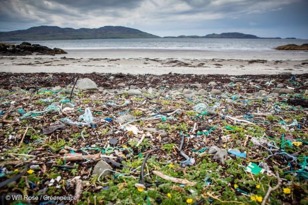 Plastics pollution on beach
