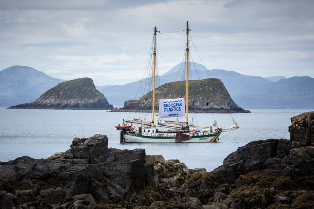 Greenpeace ship Beluga II off the coast of the Shaint Isles