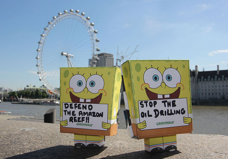Image for An army of tiny SpongeBobs is protesting against BP