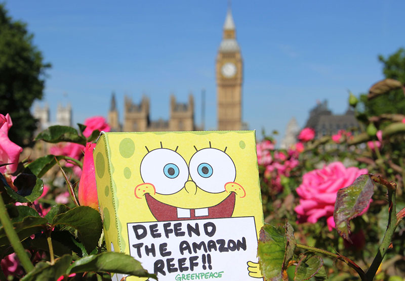 Image for SpongeBob protests against BP, all over the UK!