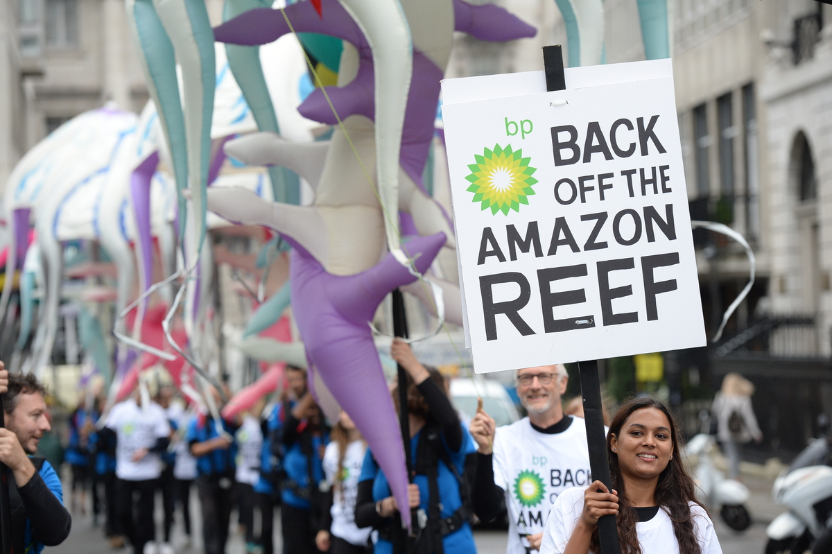 Image for Locals come out in force to challenge BP's plans to drill near the Amazon Reef