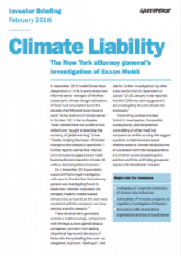 Image for Climate Liability: The New York attorney general's investigation of Exxon Mobil