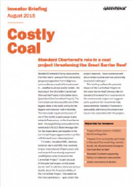 Image for Costly Coal: Standard Chartered's role in a coal project threatening the Great Barrier Reef