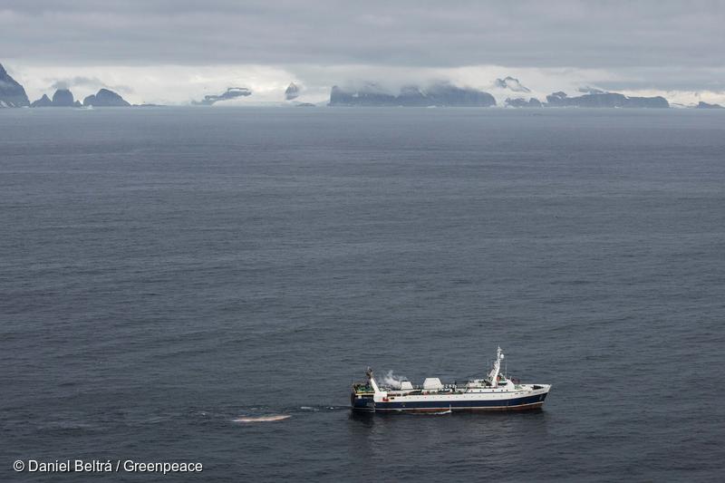 Krill fishing vessel in the Antarctic
