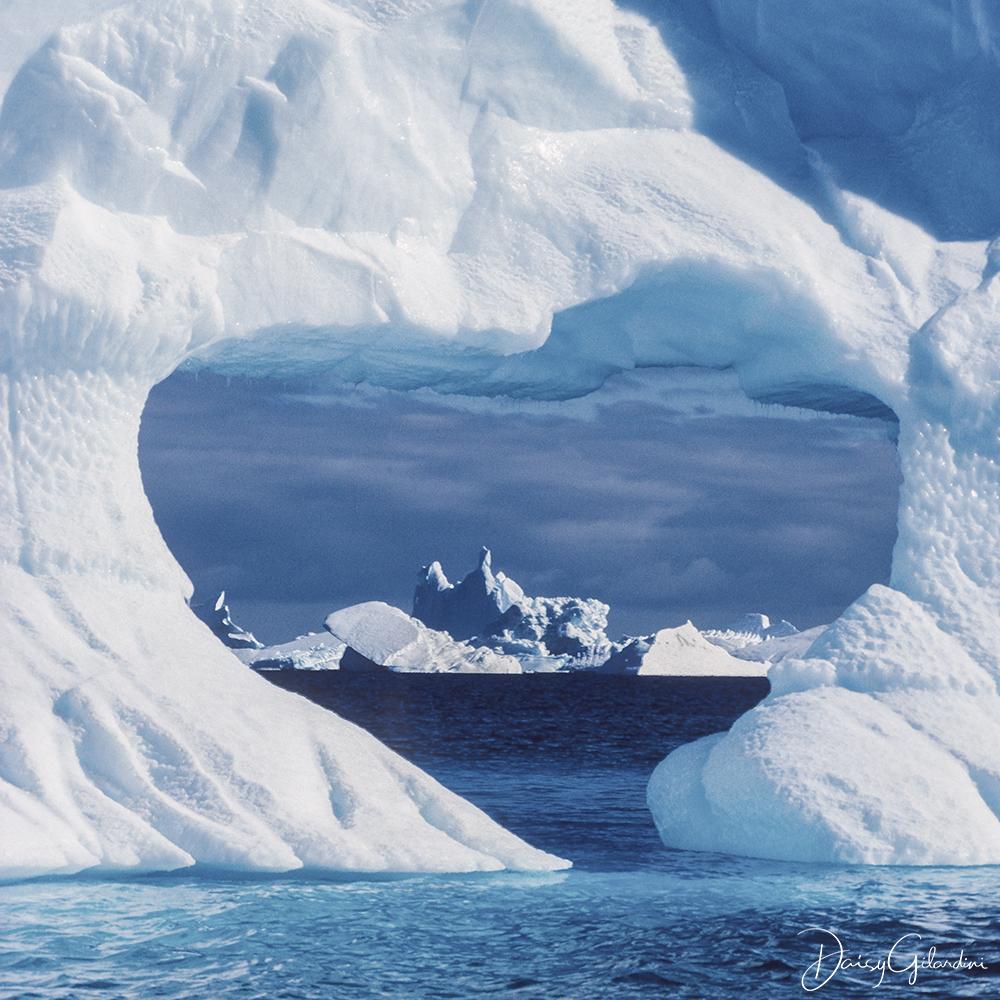A heart-shaped gap in an iceberg.