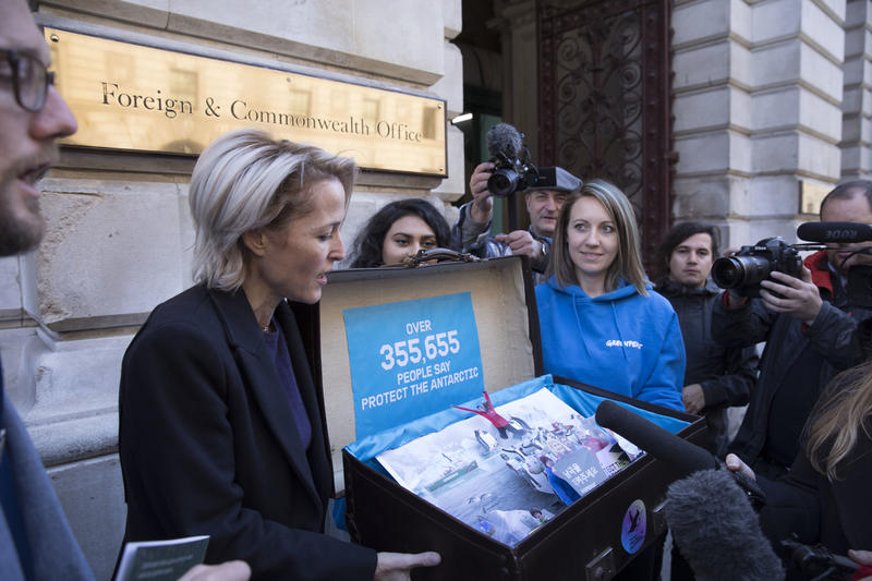 Actress Gillian Anderson and Greenpeace deliver a petition with over 350,000 names to the UK government asking them to Protect the Antarctic by creating an Antarctic Ocean Sanctuary.
