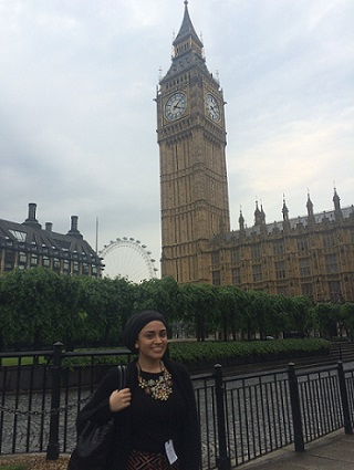 Greenpeace activist outside Houses of Parliament in London