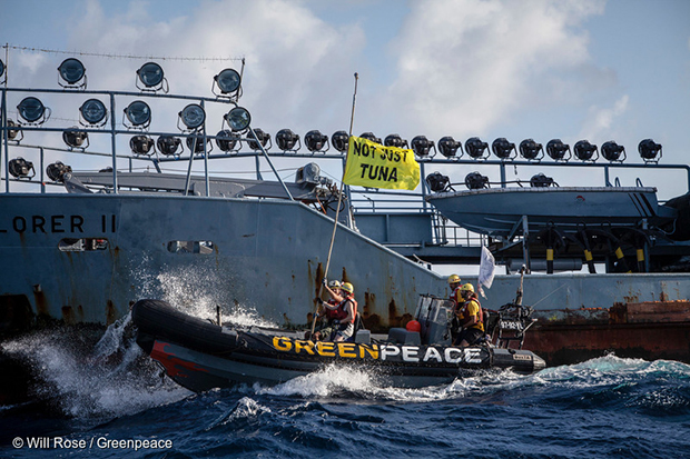 Activists on board the Greenpeace ship Esperanza peacefully confront marine operations at the heart of Thai Union's supply chain