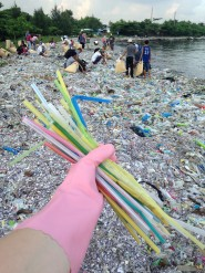 Volunteer holds out plastic straws picked up from polluted beach