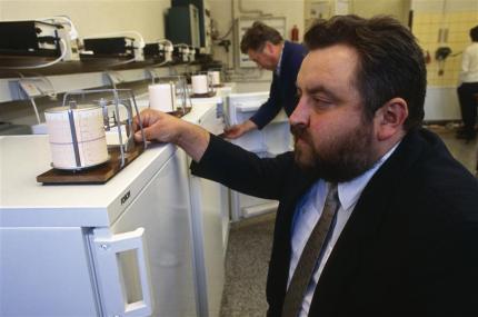 Technical Director of DDK Scharfenstein Reinhard Penzis with the ozone-friendly fridge that the company has developed