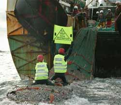 volunteers protest against beam trawling in the North Sea