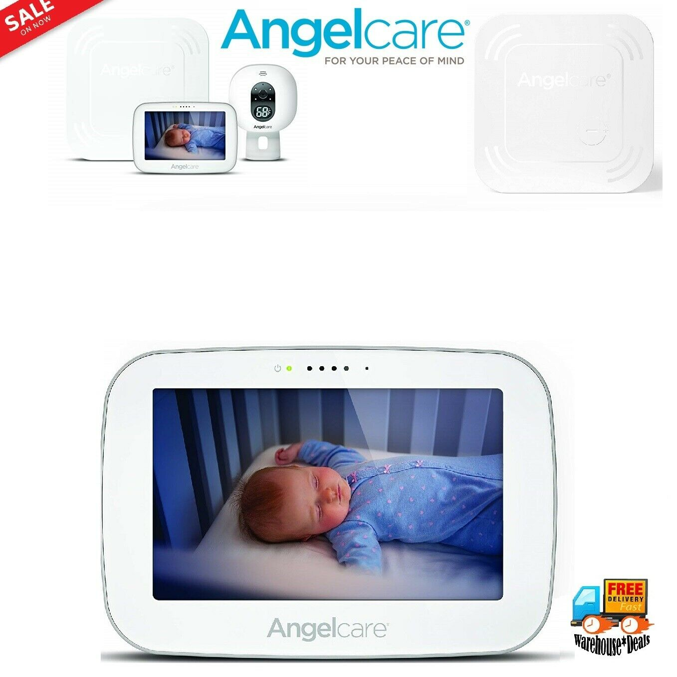 """Angelcare Baby Movement Monitor with 5"""" Touchscreen Display and Wireless Sensor"""