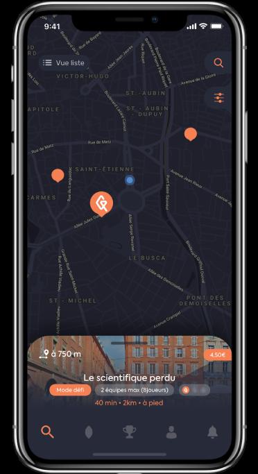 capture d'écran quêtes les plus proches map