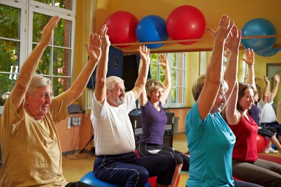 group of seniors in an exercise class at a retirement home